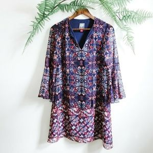 Vince Camuto Geometric Floral Print Tunic Dress